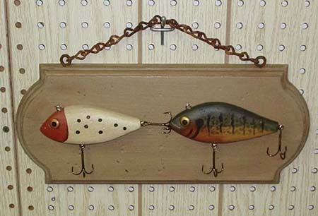 Hand carved and mounted wooden lures by gary cooper of for Fish stores wichita ks